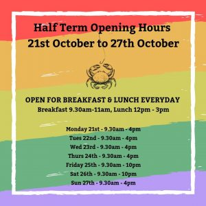 Half Term Opening Hours 21st October to 27th October